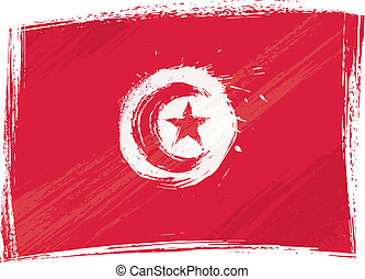 Grunge Tunisia flag - Tunisia national flag created in...