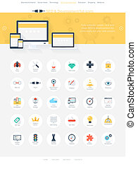 Seo icons - Vector illustration of modern, simple and flat...