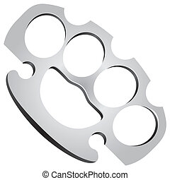 Steel Knuckles used in fights as edged weapons. Vector...