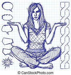 Sketch Woman In Lotus Pose With Open Hands
