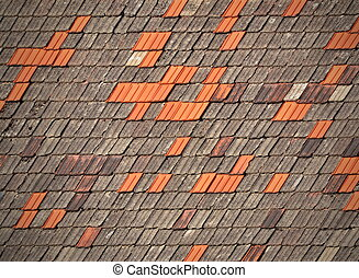 old tiled roofs chapped - background or texture of old tiled...