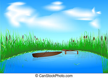 lake and boat - blue lake with grass and boat on the blue...