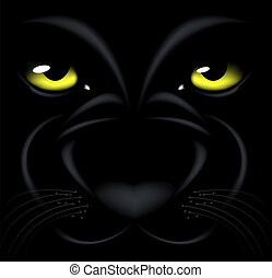 panther eyes - beautiful black background with yellow eyes...