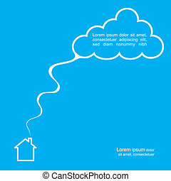 House and cloud poster template. Vector