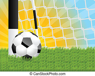 Classic soccer ball in grass with sunset background