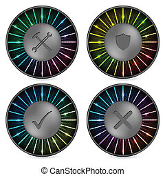 Rainbow button set with various icons