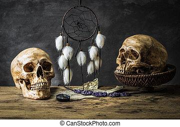 Still life dream catcher - Still life with human skulls and...