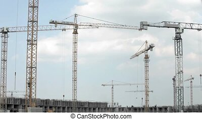 tower crane at a construction site Time lapse