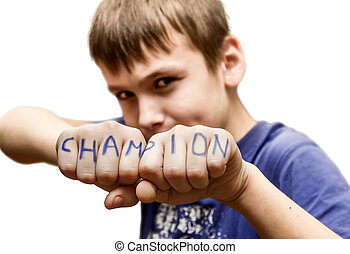 "A boy stands in a fighting pose, with the words ""champion""..."