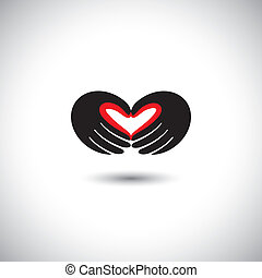 people in love concept vector - heart shape from hands of...
