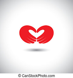 hands forming heart symbol - couple in love concept vector....