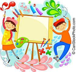 artistic children - children painting around a blank canvas...