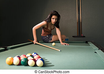Pool Hall Beauty - A sexy and beautiful hispanic woman...