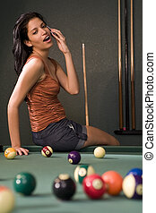 Pool Hall Phone Call - A sexy and beautiful hispanic woman...