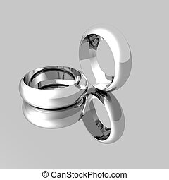 Platinum Wedding Rings on mirrored surface - Computer model...