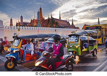 Bangkok-Dec 8:Traffic jam in front of Grand Palace opened...