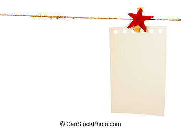 Clothes-peg in shape of star isolated on white background