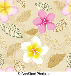 Abstract seamless pattern with plumeria flowers
