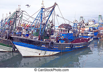 Fishing boats at the harbor from Essaouria Essaouria is the...