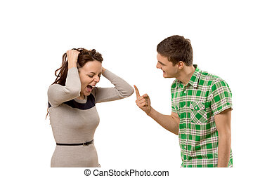 Young couple having a disagreement
