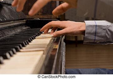 concierto, pianista, juego, piano