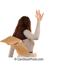 Woman tossing aside papers in anger - Temperamental woman...