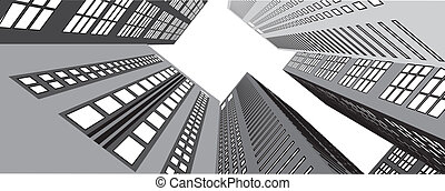 Skyscrapers in the city view from below