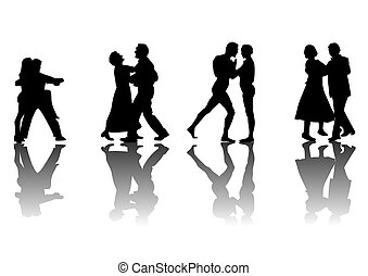 Dancers with Reflections - Four couples dancing silhouetted...