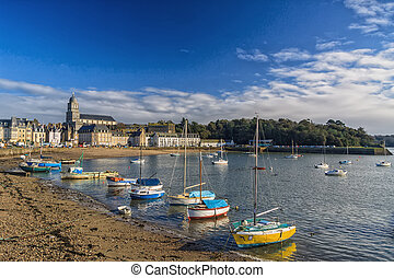 Seaside Town - Pleasure boats moored on the seafront in the...