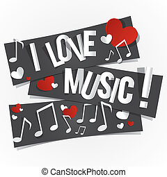 I Love Music Banners With Hearts And Notes vector...