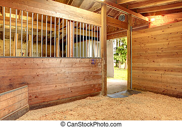 Horse stable barn stall - View of the clean horse barn stall...