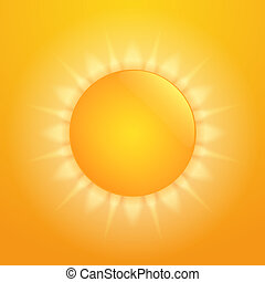 Hot Sun - Bright orange hot sun, vector eps10 illustration
