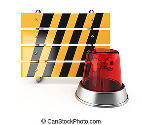 Barrier and alarm lamp isolated on white background. 3d...