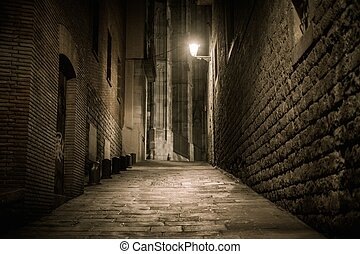 Empty street at night in Barri Gotic quarter in Barcelona,...