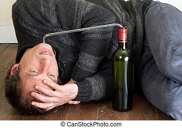 man alcohol addiction - drunk man drinking wine with pipe on...