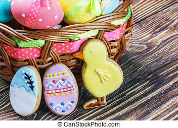 cookies and colored eggs for Easter Day - cookies and...