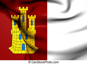 Flag of Castile-La Mancha, Spain Close Up