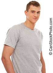Handsome young man in grey t-shirt