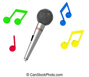 Karaoke Time II - A 3D microphone and colorful music notes.