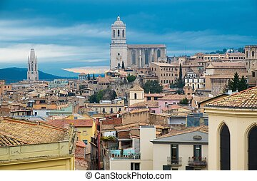 Cathedral view over rooftops of old town Girona, Spain