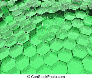 Green Translucent Hexagons - Translucent blue hexagon...