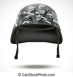 Military helmet with camo pattern vector