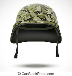 Military helmet with camo pattern vector - Military helmet...