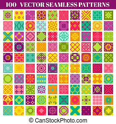100 Seamless Colorful Patterns Background Collection - for design and scrapbook - in vector
