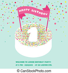 Happy Birthday and Party Invitation Card - with place for your text - in vector