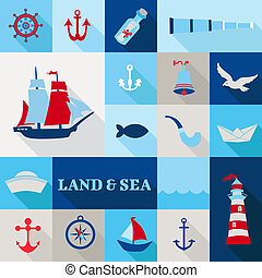 Set of Nautical Vintage Elements - for invitation, web,...