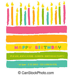 Happy Birthday and Party Invitation Card - with place for...