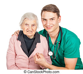Elderly care - Elderly woman with her helpful medical...