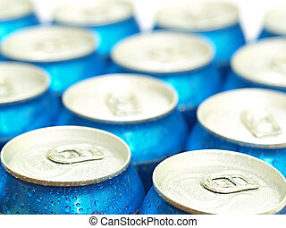 Soda or beer cans straight from the fridge. Shallow DOF,...