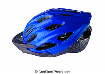 Cycling helmet on a white background - Blue cycling helmet...